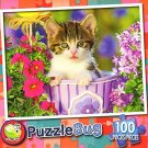 Tabby Kitten in the Garden - PuzzleBug - 100 Piece Jigsaw Puzzle