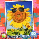 Happy Face Sunflower - PuzzleBug - 100 Piece Jigsaw Puzzle