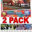 Big Red Rig - 100 Piece Jigsaw Puzzle Puzzlebug + Free Bonus 2017 Magnetic Calendar