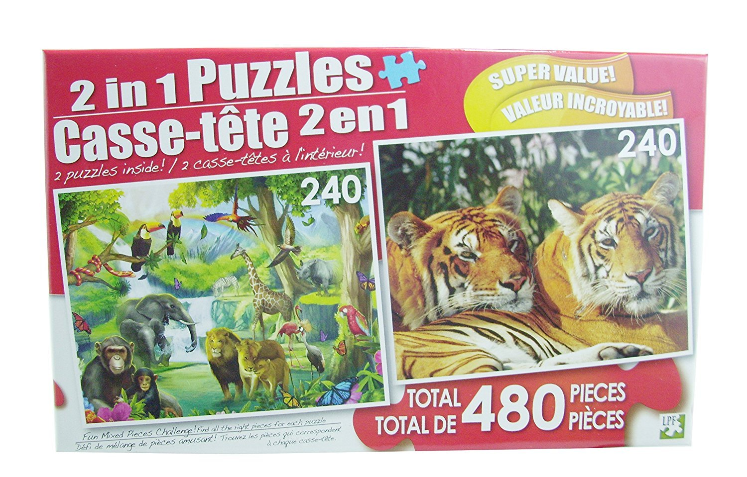LPF 480 Piece 2-in-1 Puzzle ~ the Watering Hole & Asian Bengal Tigers