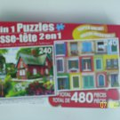2 in 1 Puzzles - (Summer Cottage & Colorful Rustic Windows)