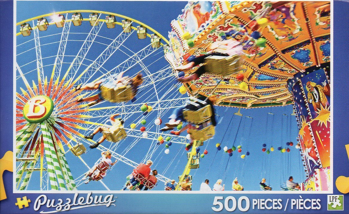 Vintage Merry-go-Round and Ferris Wheel - Puzzlebug - 500 Pieces Jigsaw Puzzle