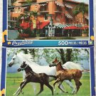 2 Puzzlebug 500 Piece Puzzles by LPF: Historic Spanish Village, Miami, Florida ~ Running Horses