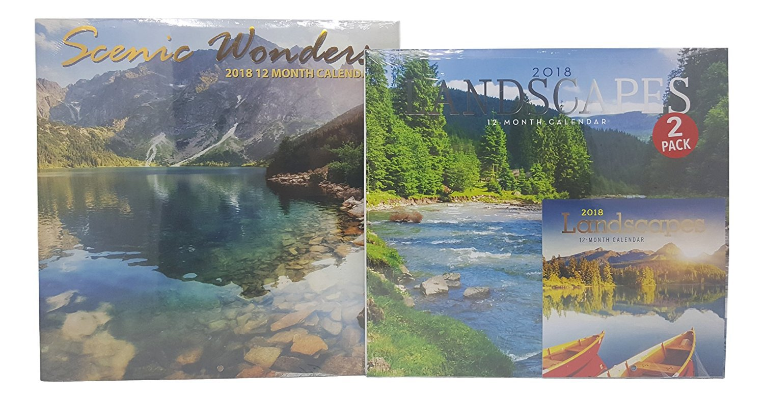 2018 Wall Calendar Set of 3 - Each Month Displays Full-Color Photograph - Planning Calendar