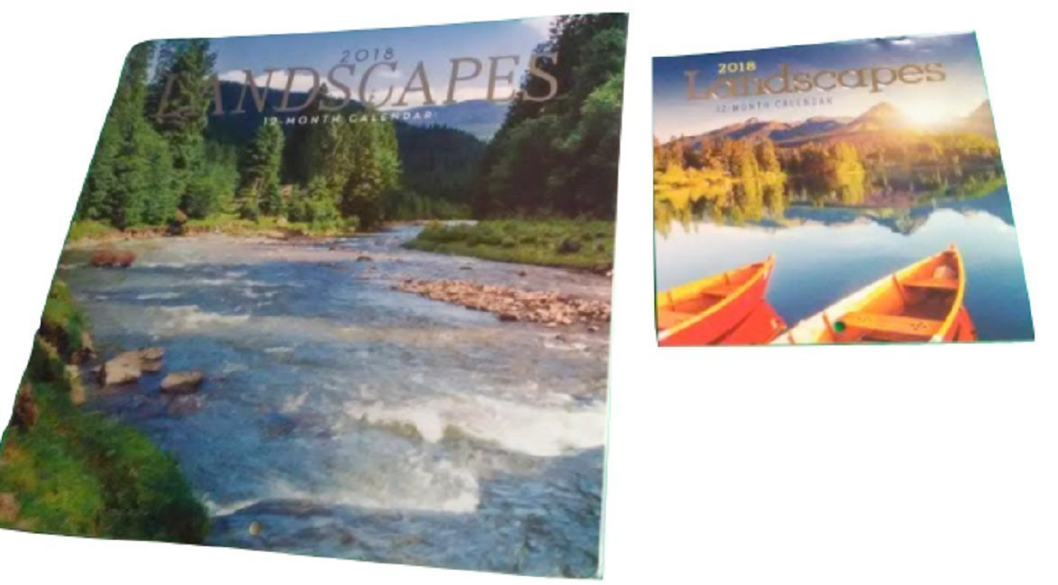 2018 Illustrated Wall Calendars with Matching Mini Calendars.(Landscapes)