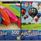 Puzzlebug Vibrant Colored 500PC Jigsaw Puzzle 2Pack - Ballooning Skies & Colorful Beach Kayaks