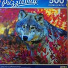 Puzzlebug Timber Wolf in Fall blueberry bushes 500 pieces