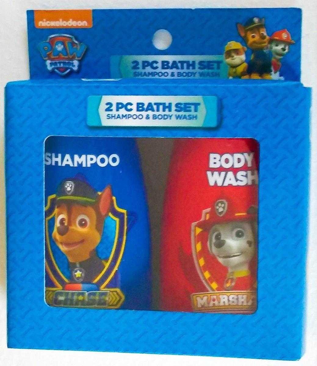 Paw Patrol 2 Piece Bath Set - Shampoo and Body Wash - Chase Marshall