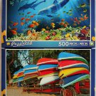 Puzzlebug Vibrant Colored 500PC Jigsaw Puzzle 2Pack - Dolphin Song & Colorful Canoes