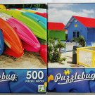 Puzzlebug Vibrant Colored 500PC Jigsaw Puzzle 2Pack - Colorful Beach Kayaks & Colorful Resort Huts