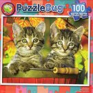 Tabby Kitten in the Garden - PuzzleBug - 100 Piece Jigsaw Puzzle - v2