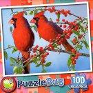Pretty Red Cardinals - PuzzleBug - 100 Piece Jigsaw Puzzle