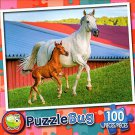 Mommy and Baby Farm Horses - PuzzleBug - 100 Piece Jigsaw Puzzle