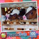 Dairy Calfs Drinking Milk - PuzzleBug - 100 Piece Jigsaw Puzzle