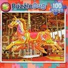 Colorful Carousel Horses - PuzzleBug - 100 Piece Jigsaw Puzzle