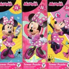 Disney Minnie Mouse - 24 Piece Tower Jigsaw Puzzle - (set of 3 Puzzles)