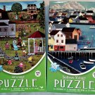 Cardinal Vibrant Colored 500PC Jigsaw Puzzle 2Pack - Heritage/Schoolyard Scene & Sailboat Village