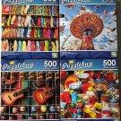 Bundle of 4 Puzzlebug 500 Piece Puzzles Lot B.
