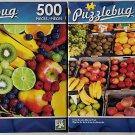 Bundle of 2 Puzzlebug 500 Piece Puzzles: Fresh Sunday Market Fruit ~ Berries and Fruits