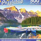 Puzzlebug 500 - Sunrise on Moraine Lake with Colorful Canoes Banff National Park