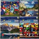 Bundle of 4 Puzzlebug 500 Piece Puzzles Lot C