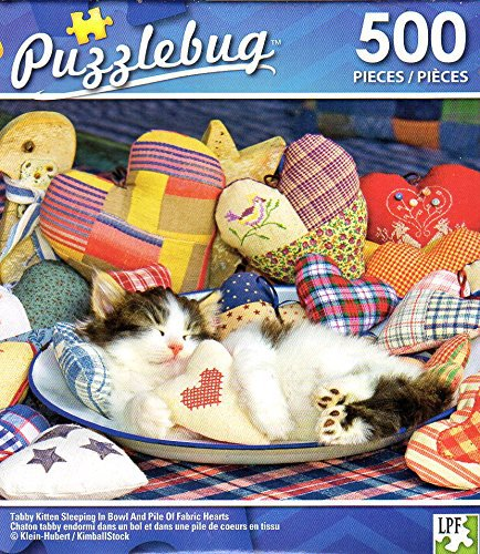 Tabby Kittens Sleeping in Bowl and Pile of Fabric Hearts - 500 Piece Jigsaw Puzzle - p 005