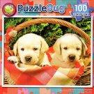 Cute Labrador Puppies in Picnic Bascket - PuzzleBug - 100 Piece Jigsaw Puzzle