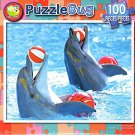 Dolphins Playing Ball - PuzzleBug - 100 Piece Jigsaw Puzzle
