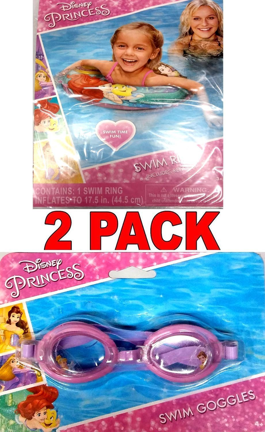 What Kids Want Disney Princess Swim Goggles and Disney Princess Swim Ring (2 Pack) v2