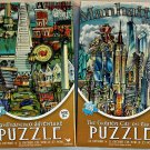 Cardinal 500PC Jigsaw Puzzle 2Pack - San Francisco Adventure & Greatest City on Earth/Manhattan