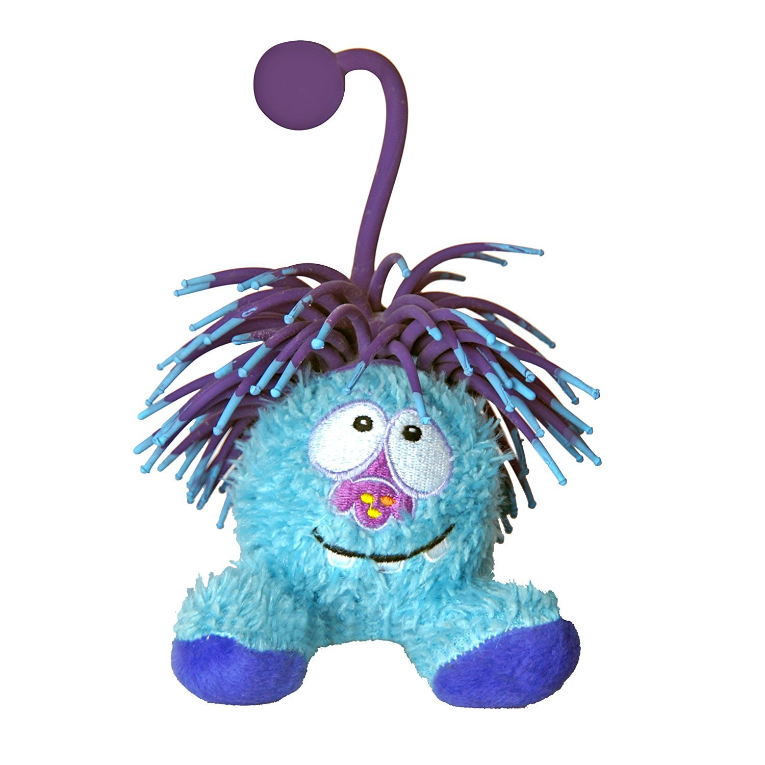 Yo-Yo Zibbies for Pets Snap Plush Toy with Crazy Hair Squeaker and Launcher