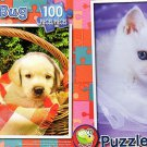 Labrador Puppies in Picnic Bascket - Cuddle Kitten - 100 Piece Jigsaw Puzzle SET of 2