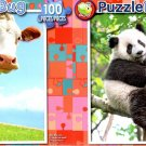 Moo Moo Cow - Panda Climbing a Tree - 100 Piece Jigsaw Puzzle SET of 2