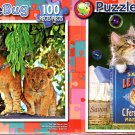 Cute Lion Cub in a Tree  - Kitten and Bubbles - 100 Piece Jigsaw Puzzle SET of 2
