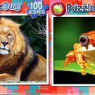 Male Lion and Cub - Yellow Madagascar Tree Frog - 100 Piece Jigsaw Puzzle SET of 2