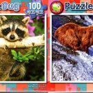 Baby Raccoon in a Tree - Alaskan Grizzly Bear Fishing - 100 Piece Jigsaw Puzzle SET of 2