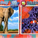 African Elephant Bull  - Clownfish Family - 100 Piece Jigsaw Puzzle SET of 2