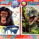 Chimpy  -  Trex On the Prowl - 100 Piece Jigsaw Puzzle SET of 2