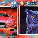 Fire Car - Moonlight Owl - 100 Piece Jigsaw Puzzle SET of 2