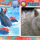 Dolphins Playing Ball  -  Arctic Wolf - 100 Piece Jigsaw Puzzle SET of 2