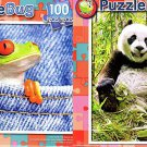 Red-eyed Tree Frog in Jeans  - Happy Giant Panda - 100 Piece Jigsaw Puzzle SET of 2