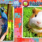 Peacock in Orchid  -  Cute Guinea Pig - 100 Piece Jigsaw Puzzle SET of 2