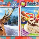 Deer on a Road  -  Happy Birthday Cuke - 100 Piece Jigsaw Puzzle SET of 2