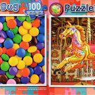 Colorful Chocolate Candy Buttons  -  Carousel Horses - 100 Piece Jigsaw Puzzle SET of 2