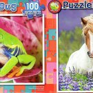 Red-Eyed Tree Frog  -  Pretty Horse - 100 Piece Jigsaw Puzzle SET of 2