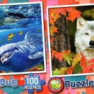 Playful Dolphins  - Autumn Wolf - 100 Piece Jigsaw Puzzle SET of 2