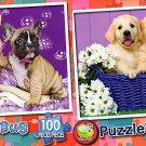 Bath time Buddies  - Puppy Basket - 100 Piece Jigsaw Puzzle SET of 2