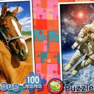 Astronaut in Outer Space  - Mare and Foal - 100 Piece Jigsaw Puzzle SET of 2