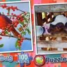 Pretty Red Cardinals - Dairy Calfs Drinking Milk - 100 Piece Jigsaw Puzzle SET of 2
