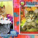 Chippy's Birthday Cupcake - Tabby Kitten in the Garden - 100 Piece Jigsaw Puzzle SET of 2